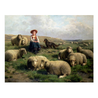 Shepherdess con las ovejas en un paisaje postal
