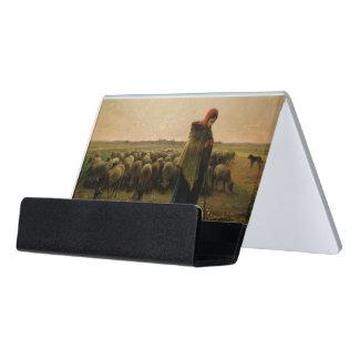 Shepherdess con su multitud, 1863 caja de tarjetas de visita para escritorio