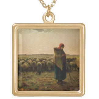 Shepherdess con su multitud, 1863 colgante cuadrado