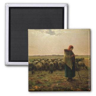 Shepherdess con su multitud, 1863 imán cuadrado