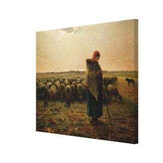 Shepherdess con su multitud, 1863 impresión de lienzo