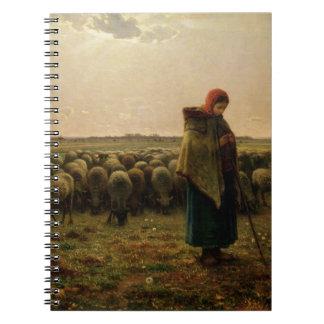 Shepherdess con su multitud, 1863 libro de apuntes con espiral