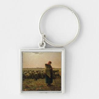 Shepherdess con su multitud, 1863 llavero cuadrado plateado