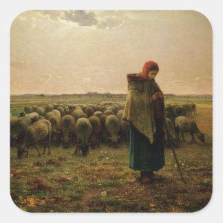 Shepherdess con su multitud, 1863 pegatina cuadrada
