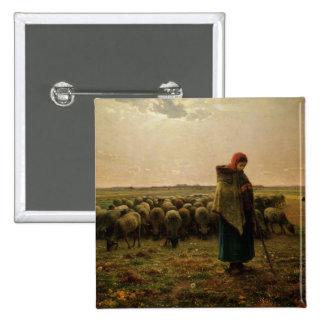 Shepherdess con su multitud, 1863 pin cuadrado