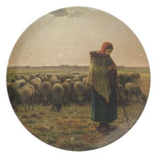 Shepherdess con su multitud, 1863 platos para fiestas