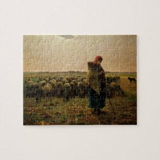 Shepherdess con su multitud, 1863 puzzle con fotos