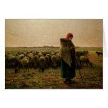 Shepherdess con su multitud, 1863 tarjeta de felicitación