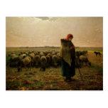 Shepherdess con su multitud, 1863 tarjetas postales