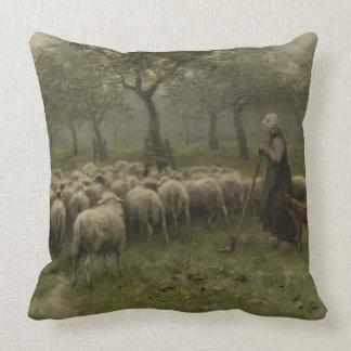 Shepherdess con una multitud de ovejas, color de cojín