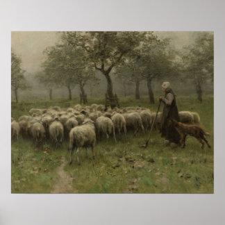 Shepherdess con una multitud de ovejas, color de póster