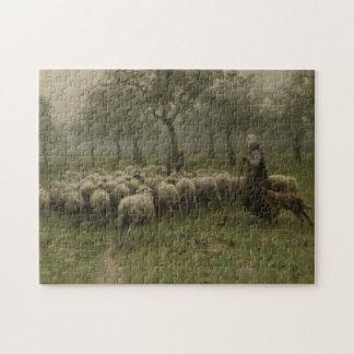 Shepherdess con una multitud de ovejas, color de puzzles con fotos