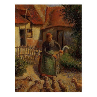 Shepherdess de Camilo Pissarro- que trae en ovejas Postal