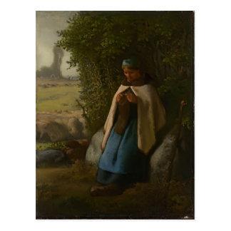 Shepherdess del mijo de Jean-Francois asentado en  Tarjeta Postal