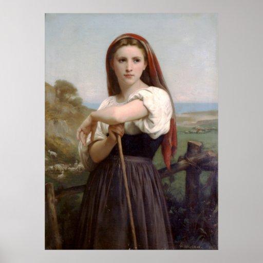 Shepherdess joven (1868) póster