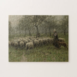 Shepherdess with a Flock of Sheep, Anton Mauve Jigsaw Puzzle