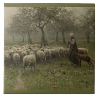Shepherdess with a Flock of Sheep, Anton Mauve Large Square Tile