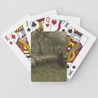 Shepherdess with a Flock of Sheep, Anton Mauve Poker Cards