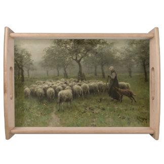 Shepherdess with a Flock of Sheep, Anton Mauve Serving Platter