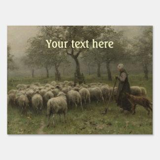 Shepherdess with a Flock of Sheep, Anton Mauve Yard Sign