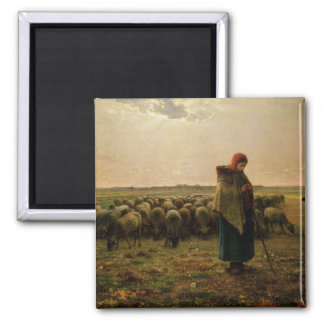 Shepherdess with her Flock, 1863 2 Inch Square Magnet
