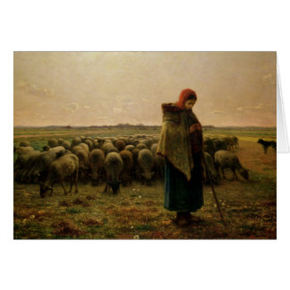 Shepherdess with her Flock, 1863 Card