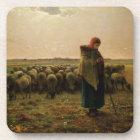 Shepherdess with her Flock, 1863 Drink Coaster