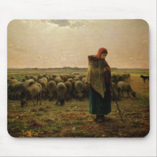 Shepherdess with her Flock, 1863 Mouse Pad