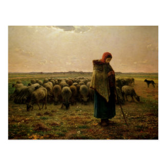 Shepherdess with her Flock, 1863 Postcard