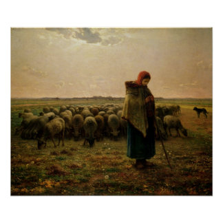 Shepherdess with her Flock, 1863 Posters
