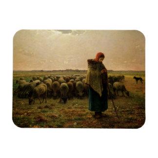 Shepherdess with her Flock, 1863 Rectangular Magnet