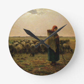 Shepherdess with her Flock, 1863 Round Clock