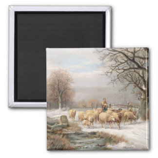 Shepherdess with her Flock in a Winter Landscape ( 2 Inch Square Magnet