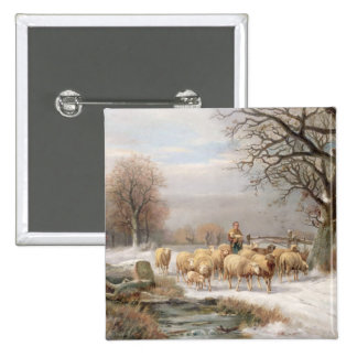 Shepherdess with her Flock in a Winter Landscape ( 2 Inch Square Button