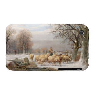 Shepherdess with her Flock in a Winter Landscape iPhone 3 Cases