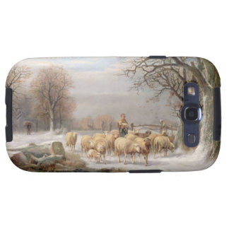 Shepherdess with her Flock in a Winter Landscape ( Galaxy S3 Cases
