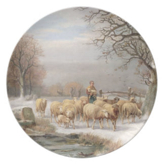 Shepherdess with her Flock in a Winter Landscape ( Dinner Plate