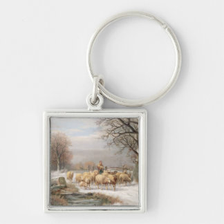 Shepherdess with her Flock in a Winter Landscape ( Keychain