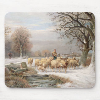 Shepherdess with her Flock in a Winter Landscape ( Mouse Pad