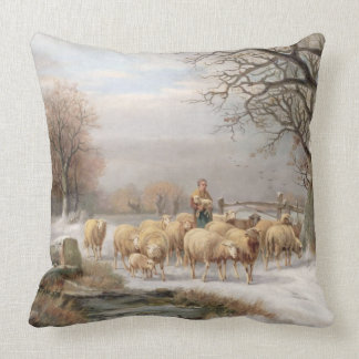 Shepherdess with her Flock in a Winter Landscape ( Pillow