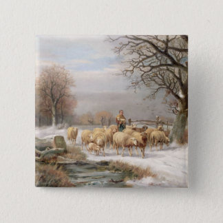 Shepherdess with her Flock in a Winter Landscape ( Pinback Button