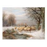 Shepherdess with her Flock in a Winter Landscape ( Postcard