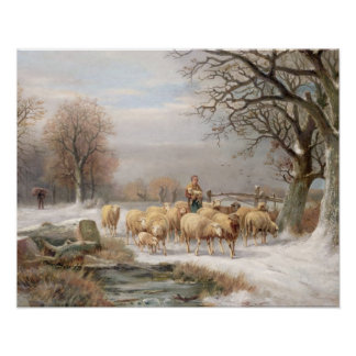 Shepherdess with her Flock in a Winter Landscape ( Poster