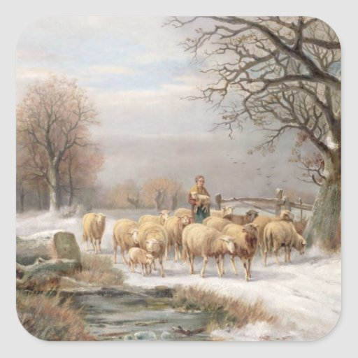 Shepherdess with her Flock in a Winter Landscape ( Square Sticker