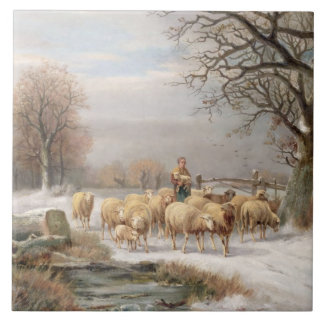 Shepherdess with her Flock in a Winter Landscape ( Large Square Tile