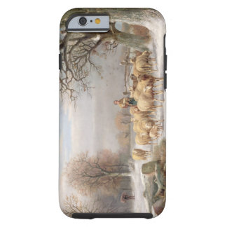 Shepherdess with her Flock in a Winter Landscape ( Tough iPhone 6 Case