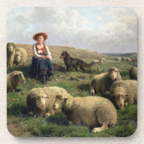 Shepherdess with Sheep in a Landscape Beverage Coaster