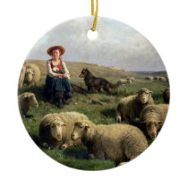 Shepherdess with Sheep in a Landscape Ceramic Ornament