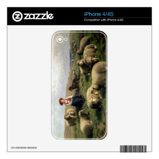 Shepherdess with Sheep in a Landscape Decal For iPhone 4