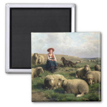Shepherdess with Sheep in a Landscape Magnet